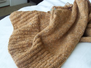 Close-up of sweater body.