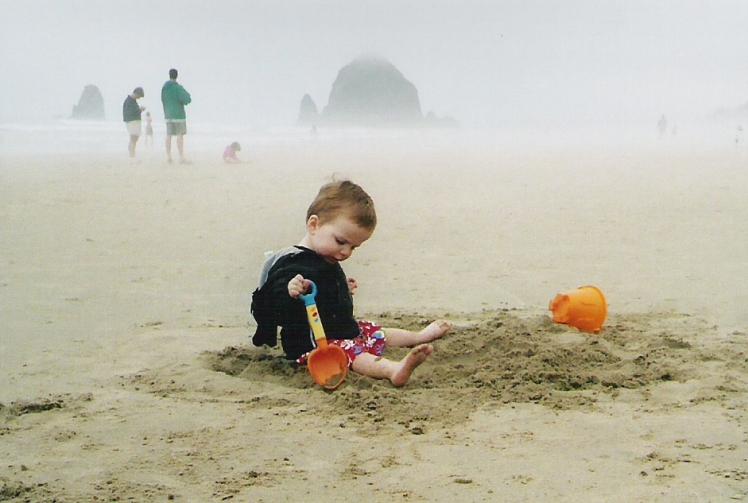 J's first trip, 2004. Ooh, sand!